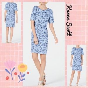 Navy Blue Midi Floral Day Dress Large